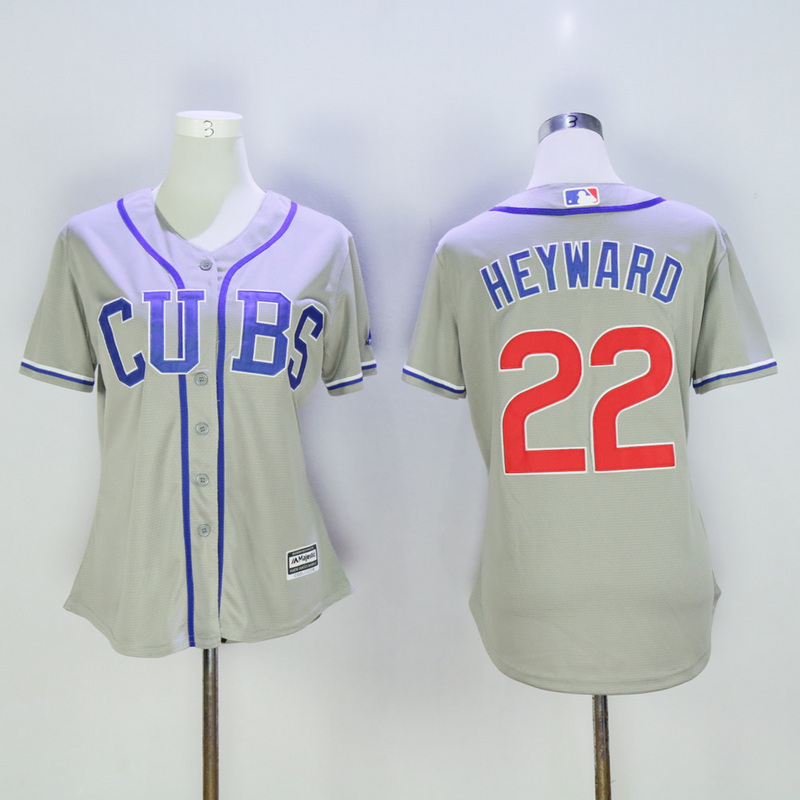Women Chicago Cubs 22 Heyward Grey MLB Jerseys