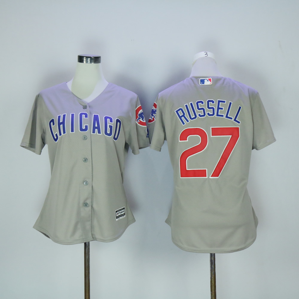 Women Chicago Cubs 27 Russell Grey MLB Jerseys