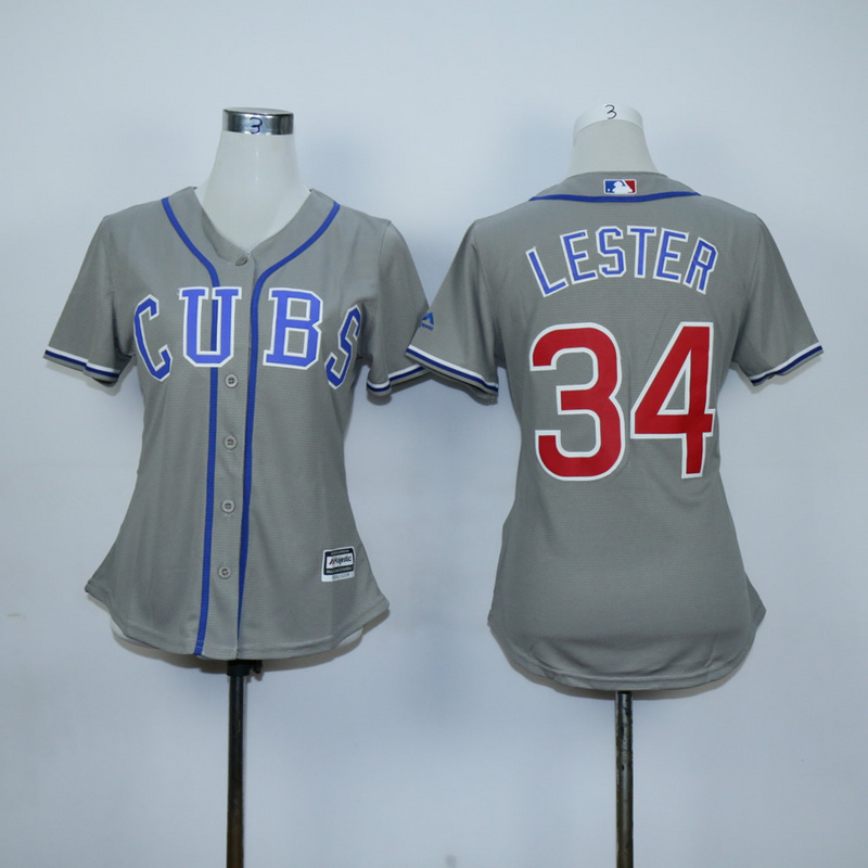 Women Chicago Cubs 34 Lester Grey MLB Jerseys