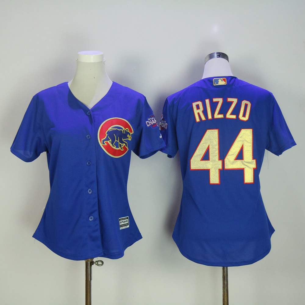 Women Chicago Cubs 44 Rizzo Blue Champion MLB Jerseys