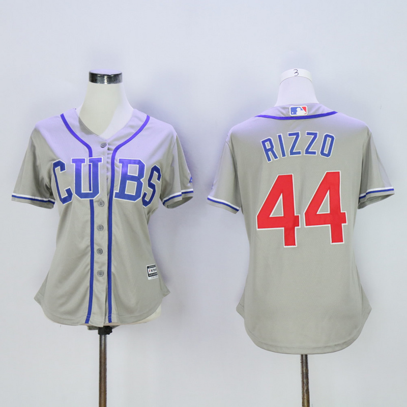 Women Chicago Cubs 44 Rizzo CUBS Grey MLB Jerseys