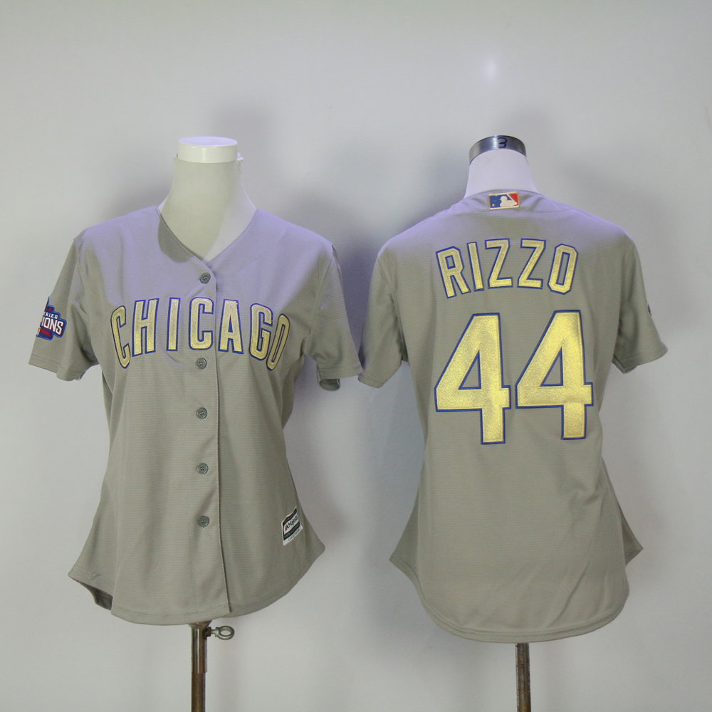 Women Chicago Cubs 44 Rizzo Grey Champion MLB Jerseys