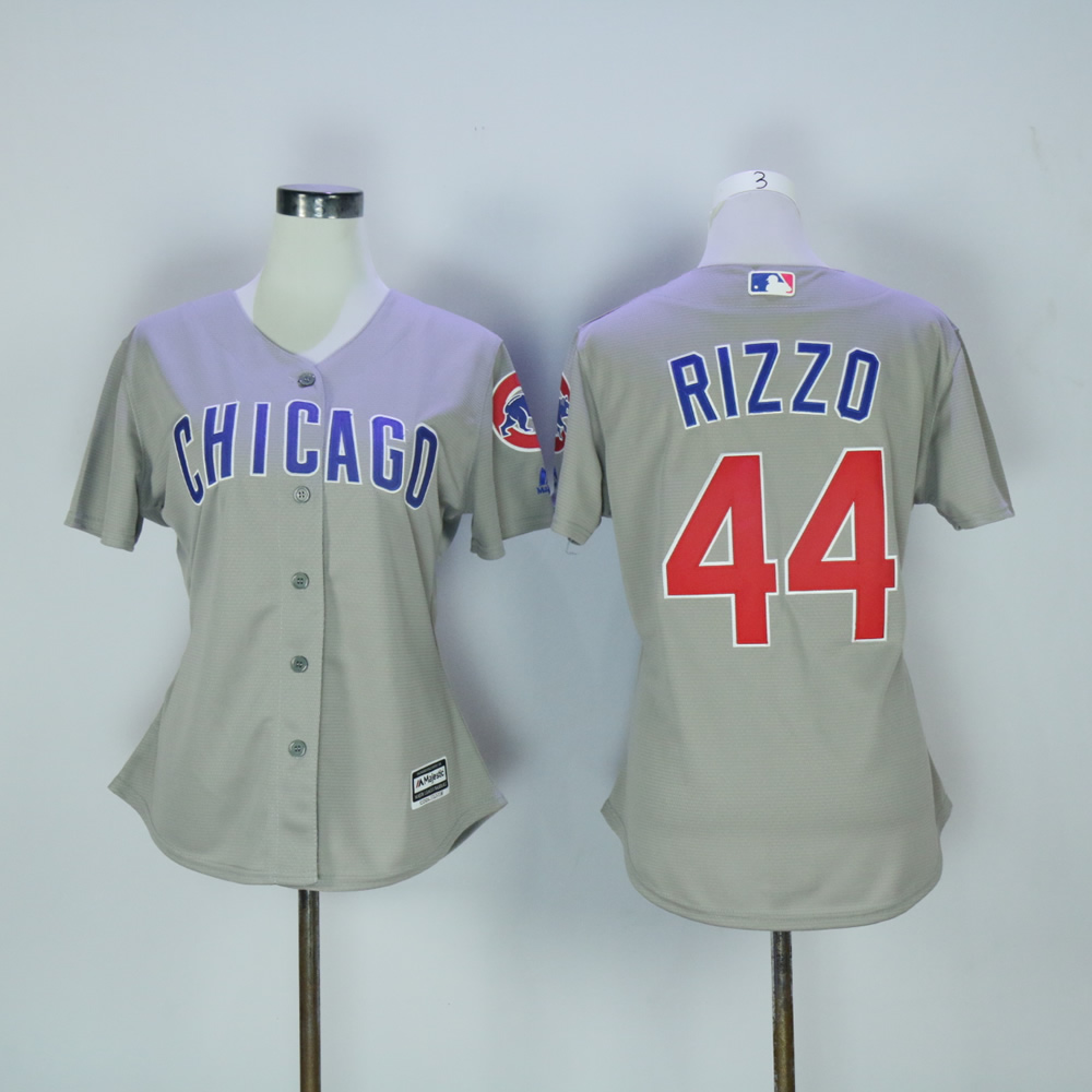 Women Chicago Cubs 44 Rizzo Grey MLB Jerseys