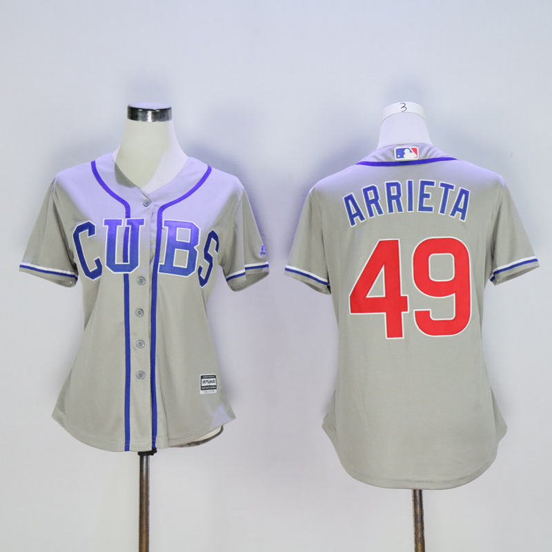 Women Chicago Cubs 49 Arrieta Grey CUBS MLB Jerseys