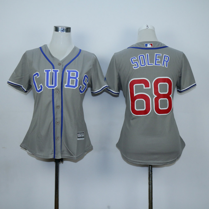 Women Chicago Cubs 68 Soler Grey MLB Jerseys