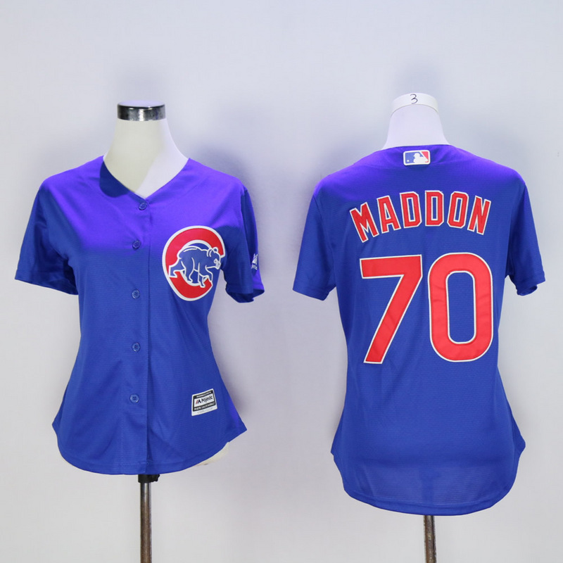 Women Chicago Cubs 70 Maddon Blue MLB Jerseys