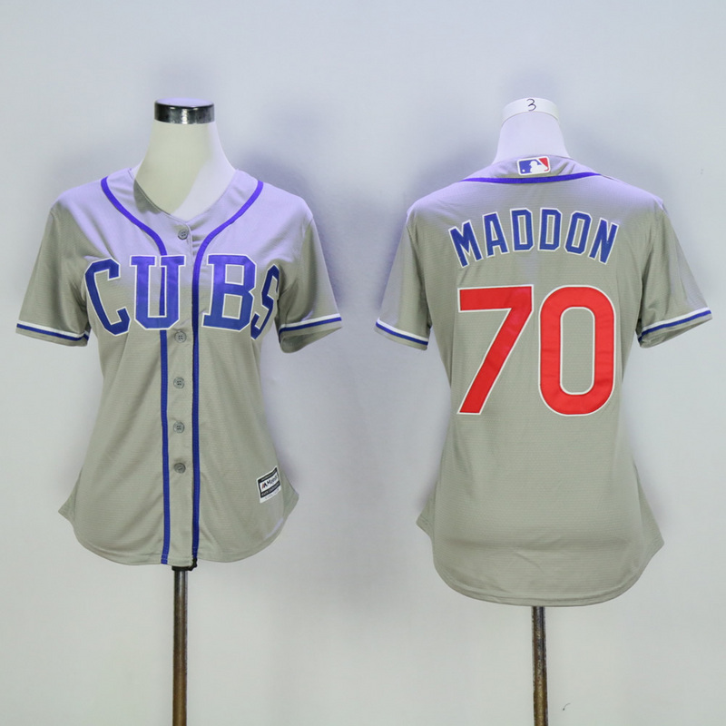 Women Chicago Cubs 70 Maddon Grey MLB Jerseys