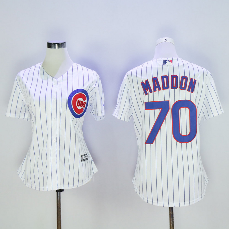 Women Chicago Cubs 70 Maddon White MLB Jerseys