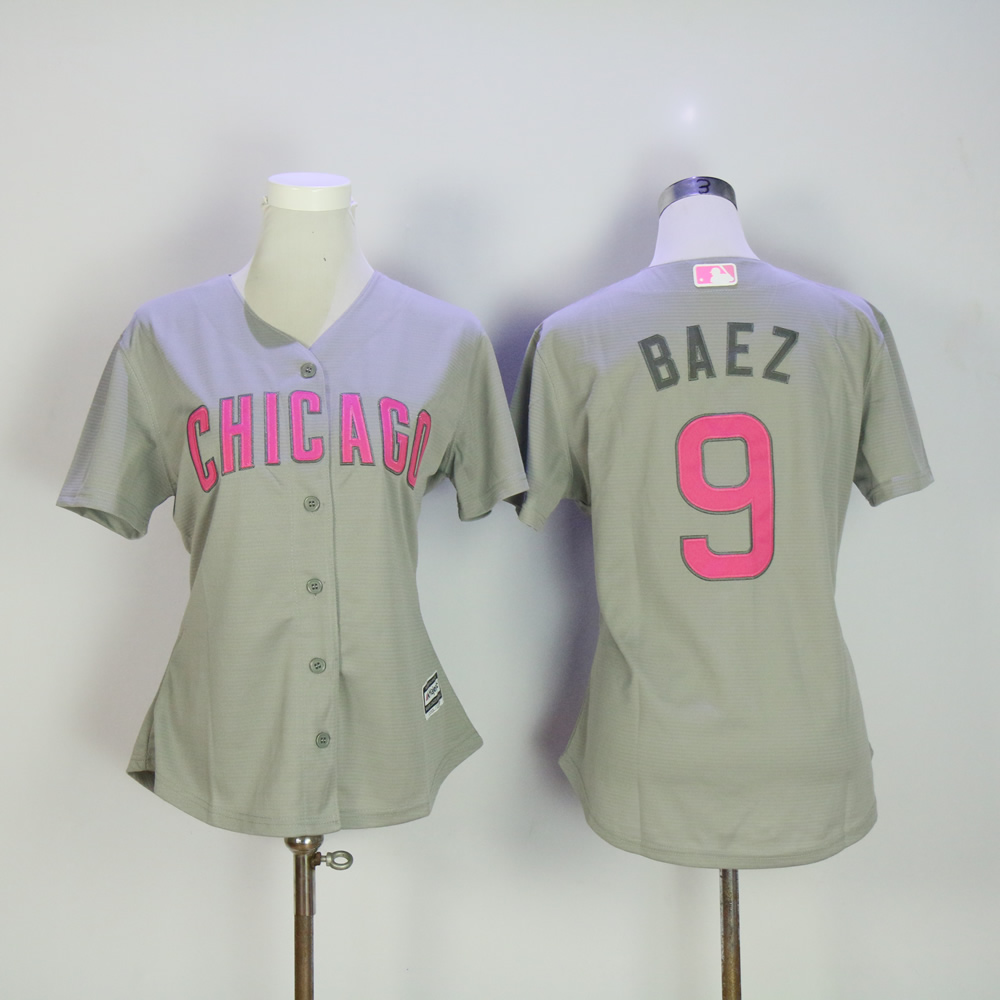 Women Chicago Cubs 9 Baez Grey Mothers Edition MLB Jerseys