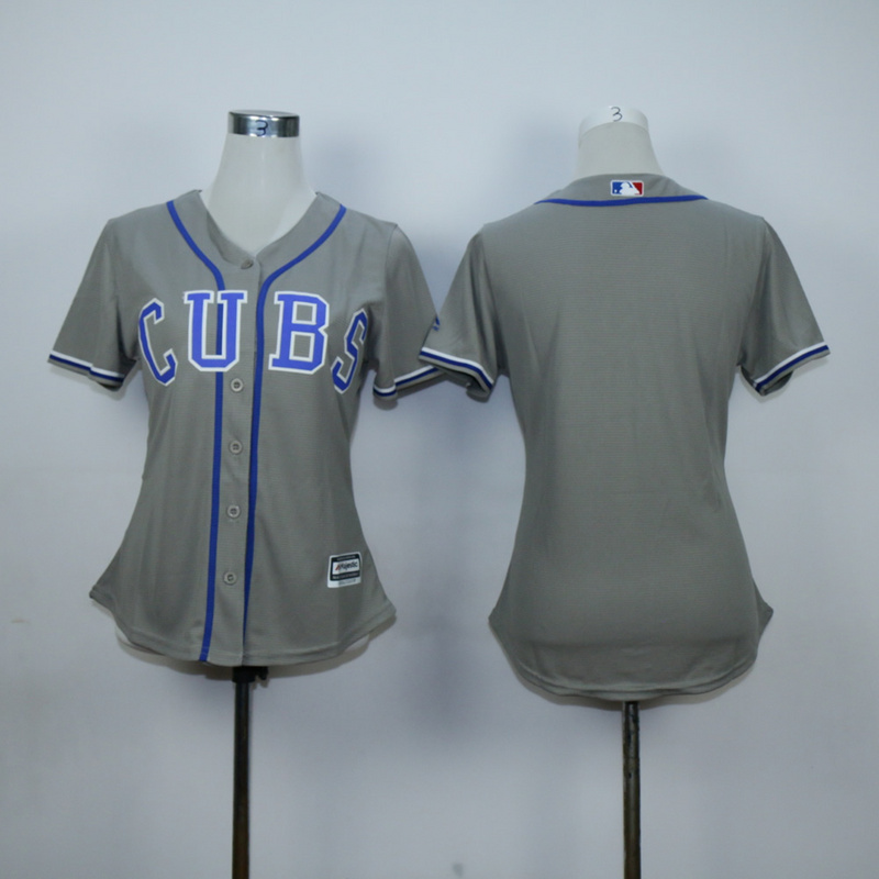 Women Chicago Cubs Blank Grey MLB Jerseys