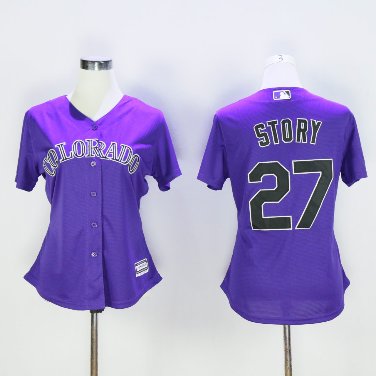 Women Colorado Rockies 27 Story Purple MLB Jerseys