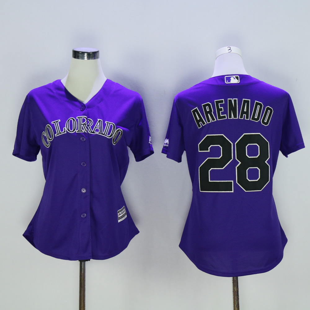 Women Colorado Rockies 28 Arenado Purple MLB Jerseys