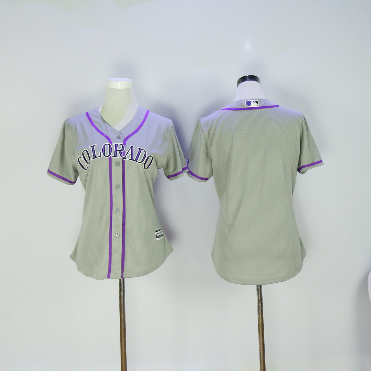 Women Colorado Rockies Blank Grey MLB Jerseys