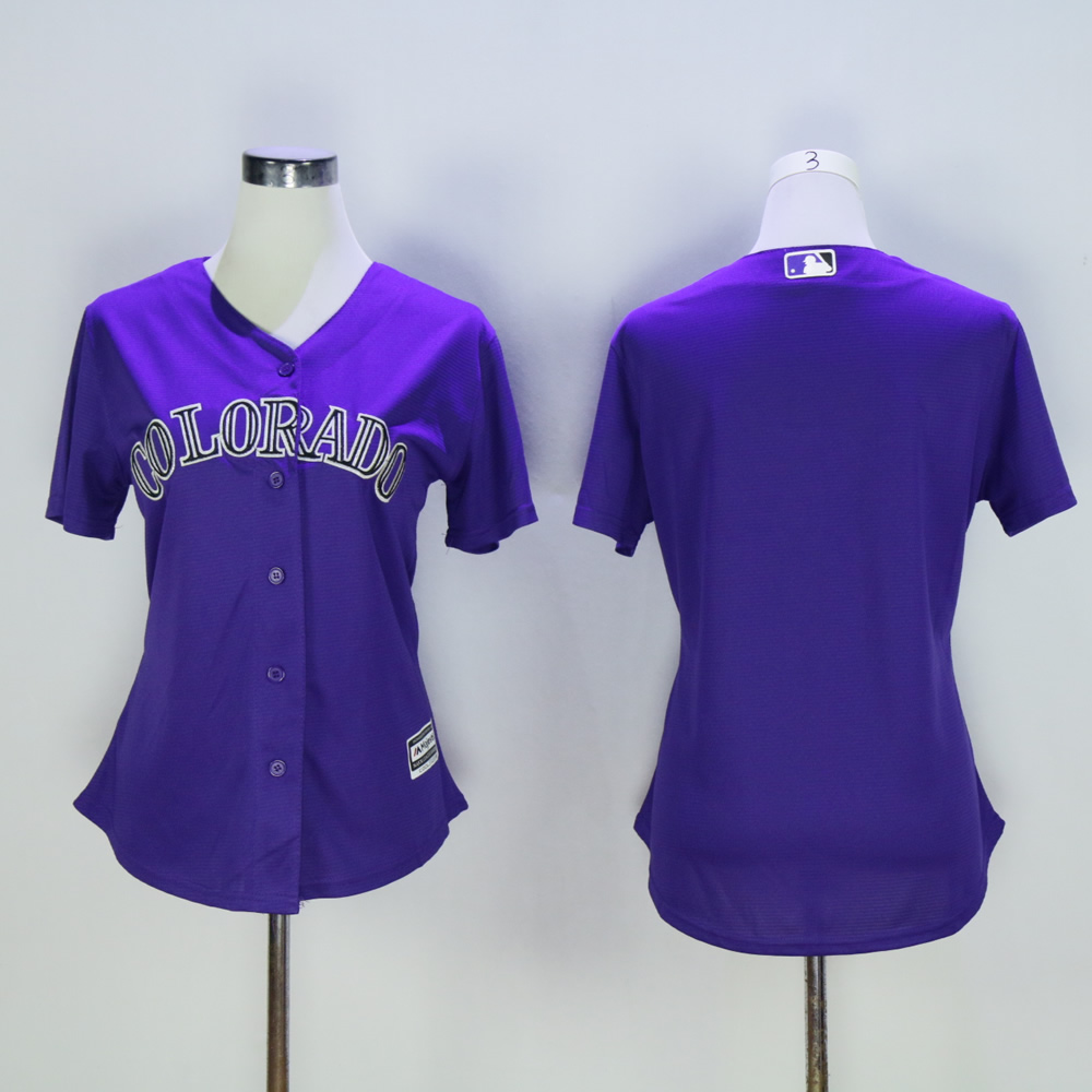Women Colorado Rockies Blank Purple MLB Jerseys