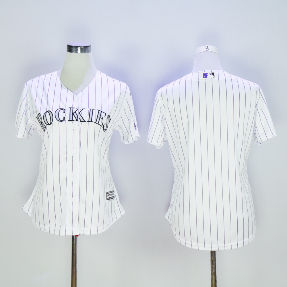 Women Colorado Rockies Blank White MLB Jerseys
