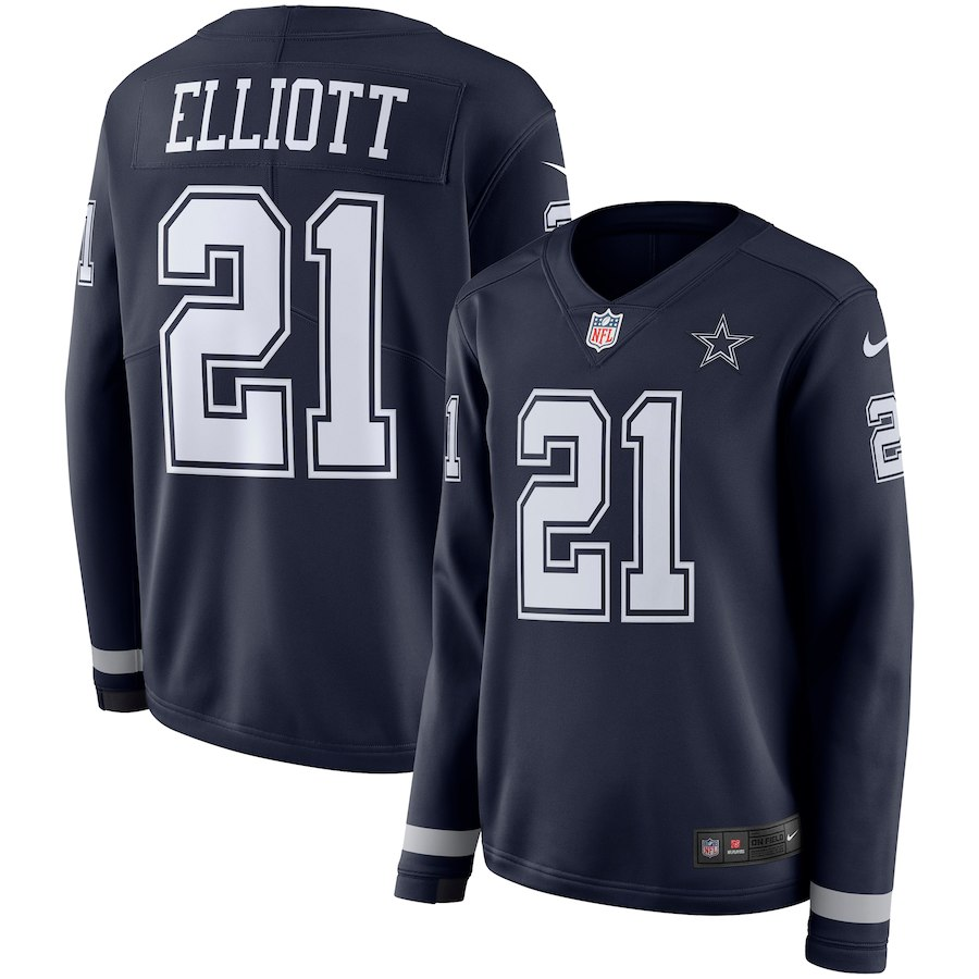 Women Dallas Cowboys 21 Elliott blue Limited NFL Nike Therma Long Sleeve Jersey