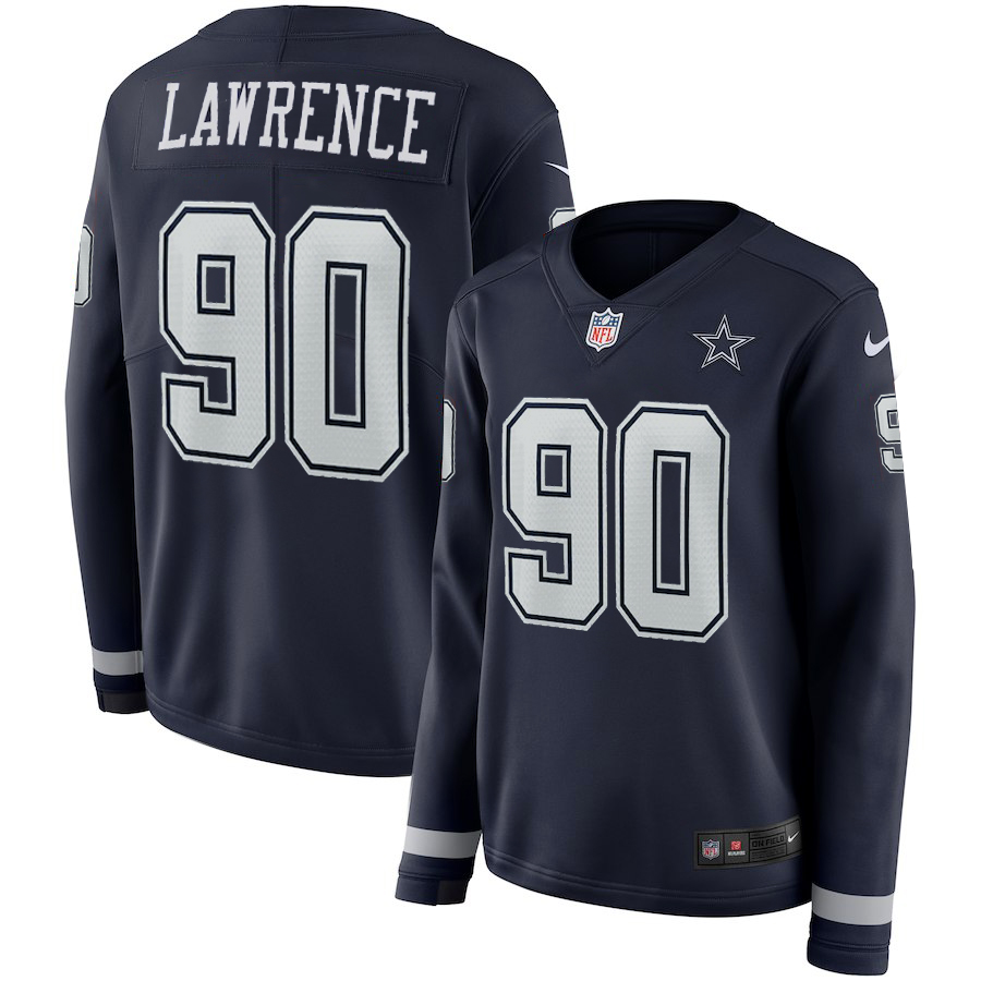 Women Dallas Cowboys 90 Lawrence blue Limited NFL Nike Therma Long Sleeve Jersey