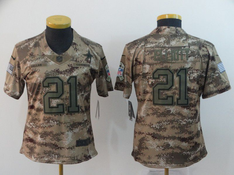 Women Dallas cowboys 21 Elliott Nike Camo Salute to Service Retired Player Limited NFL Jersey