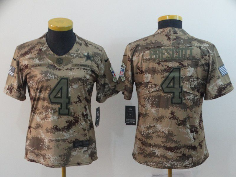 Women Dallas cowboys 4 Prescott Nike Camo Salute to Service Retired Player Limited NFL Jersey