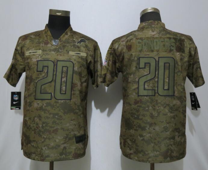 d8da35f5 Women Detroit Lions 20 Sanders Nike Camo Salute to Service Limited NFL  Jersey