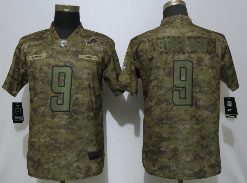 Women Detroit Lions 9 Stafford Nike Camo Salute to Service Limited NFL Jersey