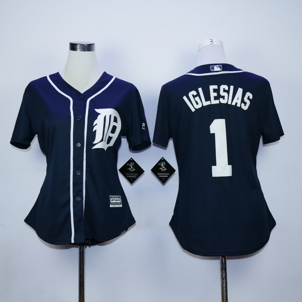 Women Detroit Tigers 1 Iglesias Blue MLB Jerseys