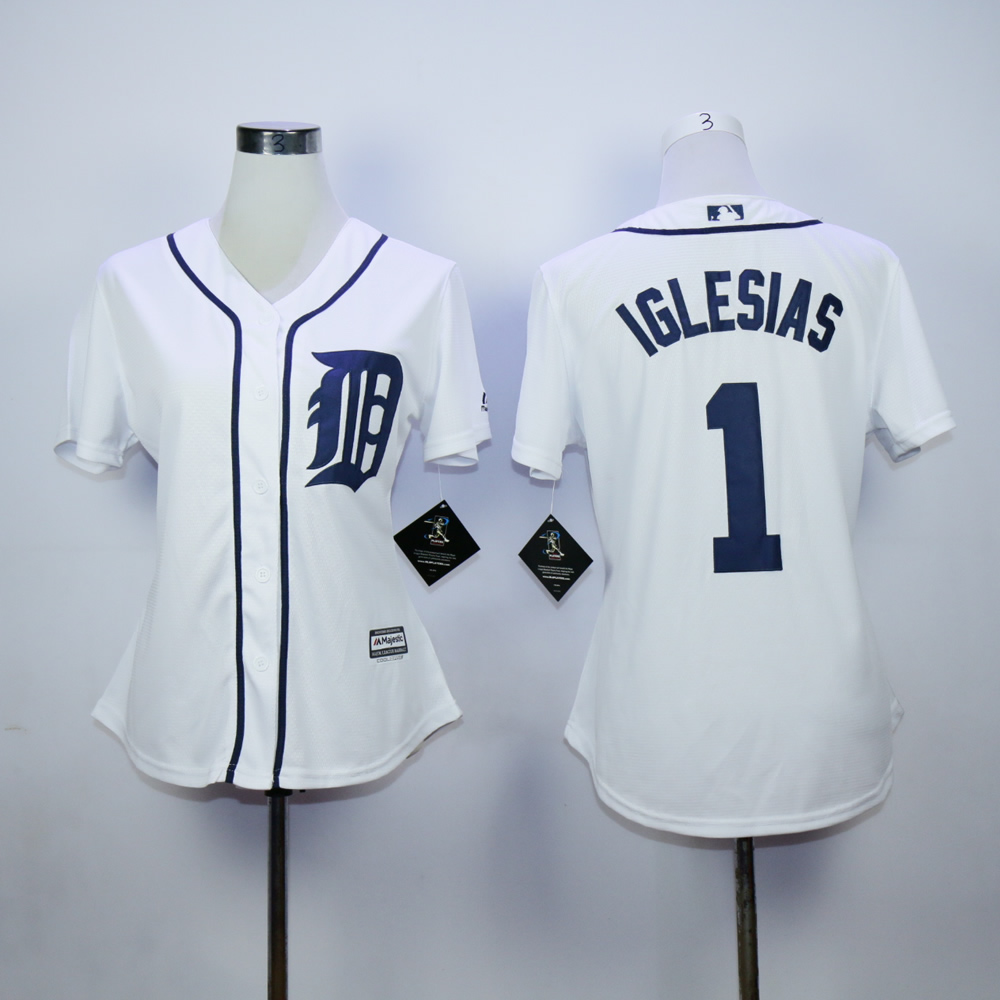 Women Detroit Tigers 1 Iglesias White MLB Jerseys