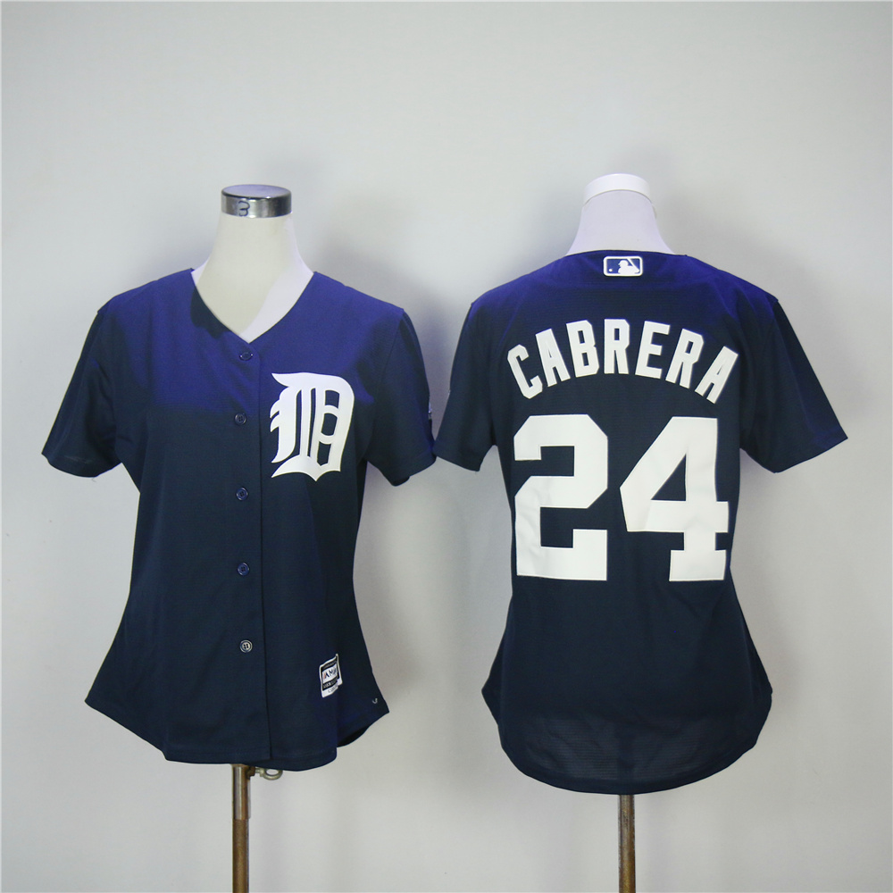 Women Detroit Tigers 24 Cabrera Blue MLB Jerseys