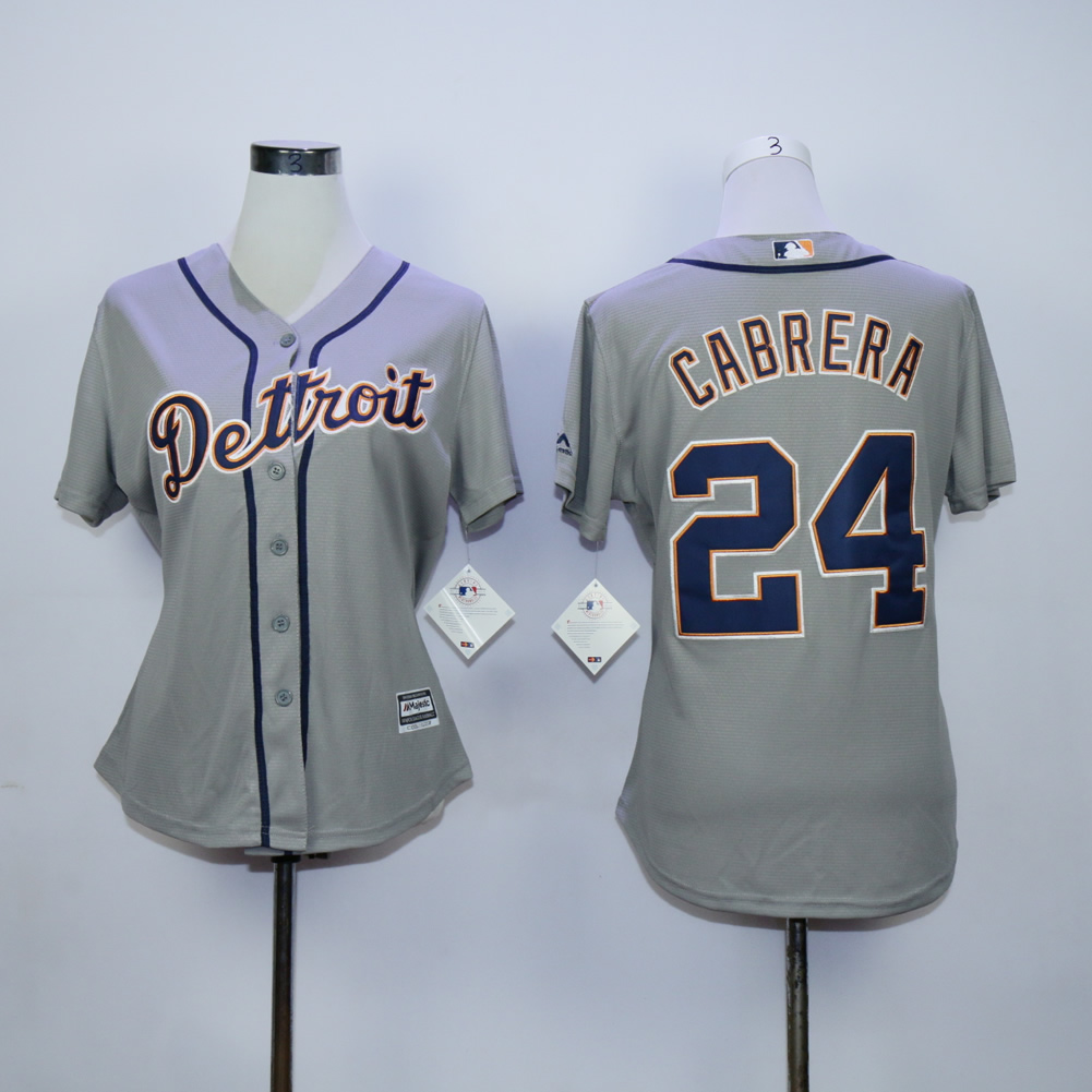 Women Detroit Tigers 24 Cabrera Grey MLB Jerseys