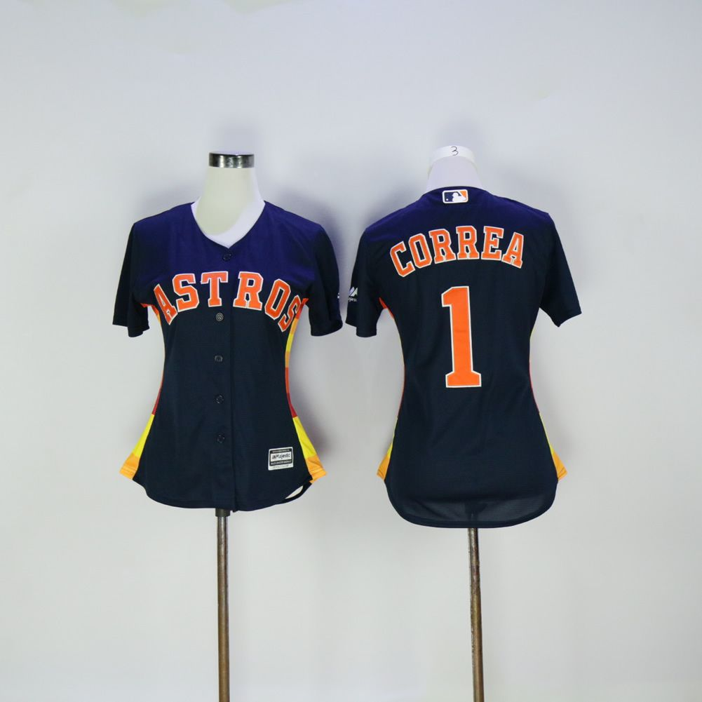 Women Houston Astros 1 Correa Blue MLB Jerseys