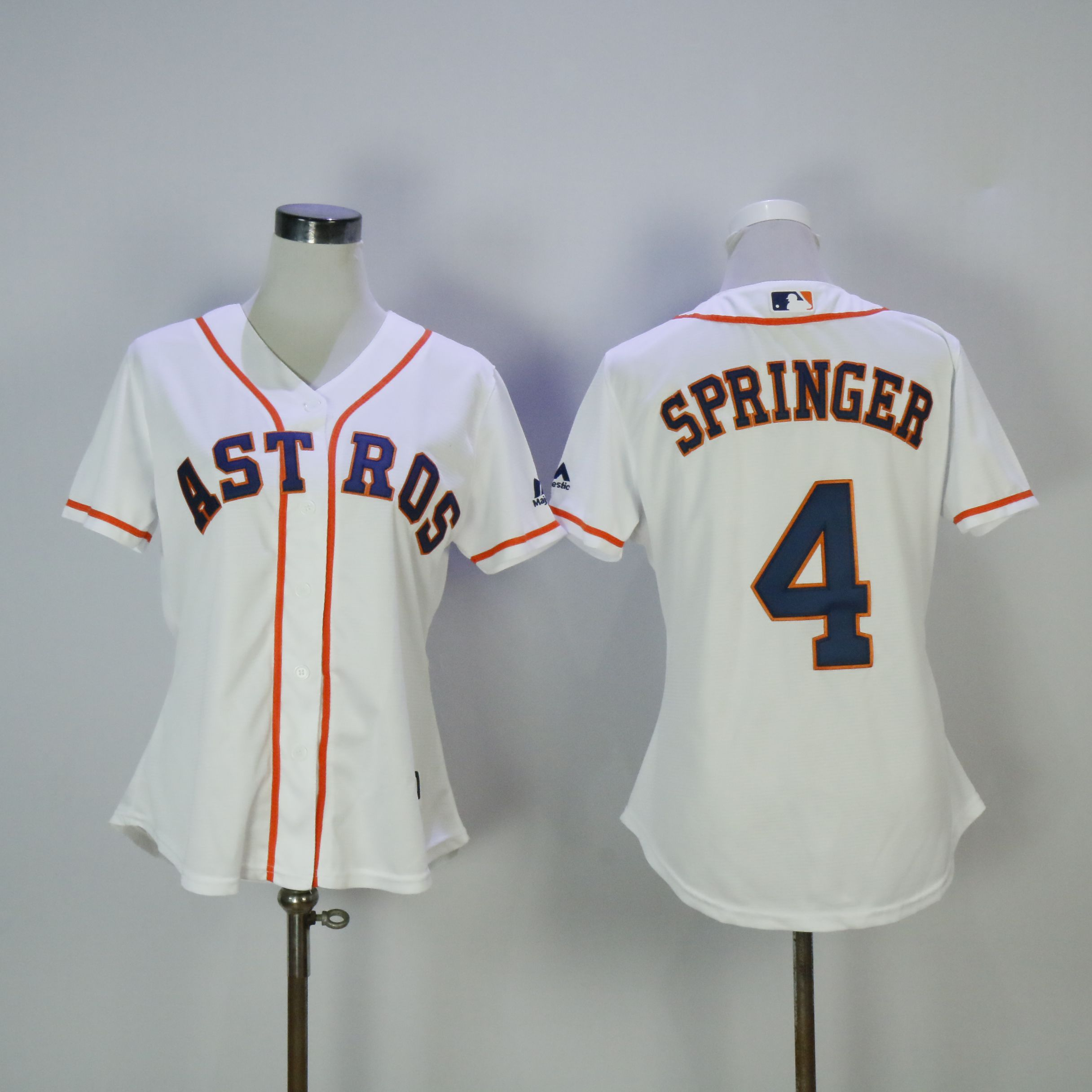 Women Houston Astros 4 Springer White MLB Jerseys
