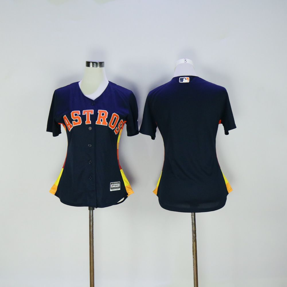 Women Houston Astros Blank Blue MLB Jerseys