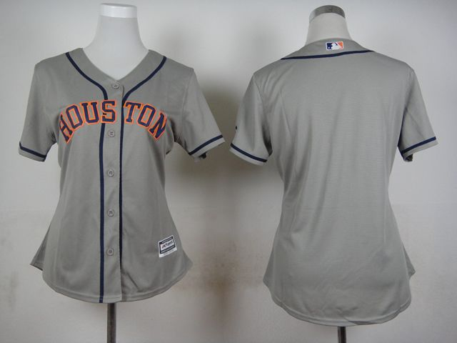 Women Houston Astros Blank Grey MLB Jerseys