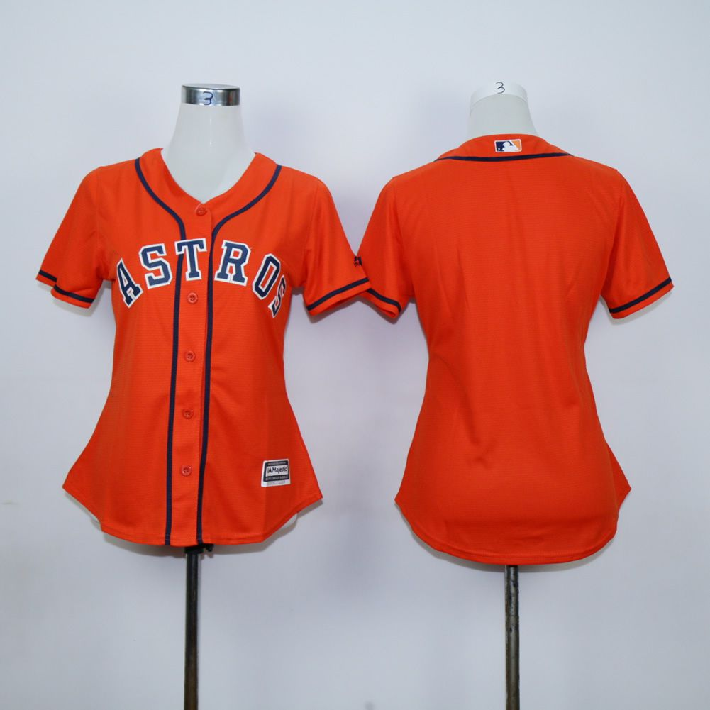 Women Houston Astros Blank Orange MLB Jerseys