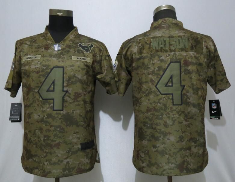 Women Houston Texans 4 Watson Nike Camo Salute to Service Limited NFL Jersey