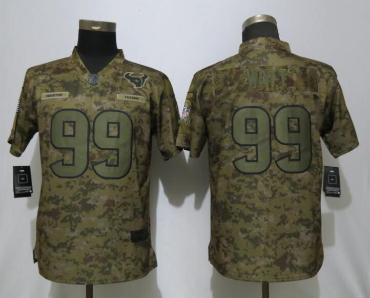 Women Houston Texans 99 Watt Nike Camo Salute to Service Limited NFL Jersey