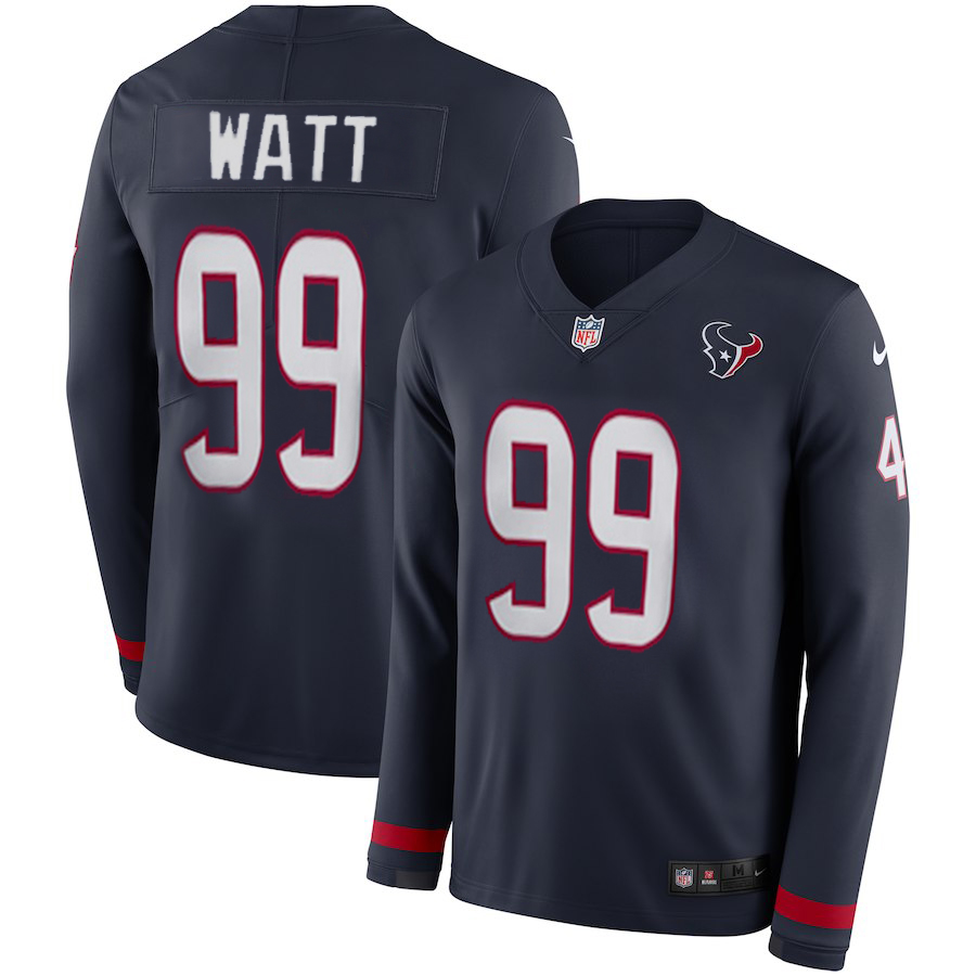 Women Houston Texans 99 Watt blue Limited NFL Nike Therma Long Sleeve Jersey