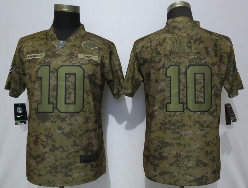 Women Kansas City Chiefs 10 Hill Nike Camo Salute to Service Limited NFL Jerseys