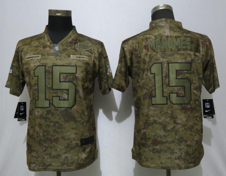 Women Kansas City Chiefs 15 Mahomes Nike Camo Salute to Service Limited NFL Jerseys