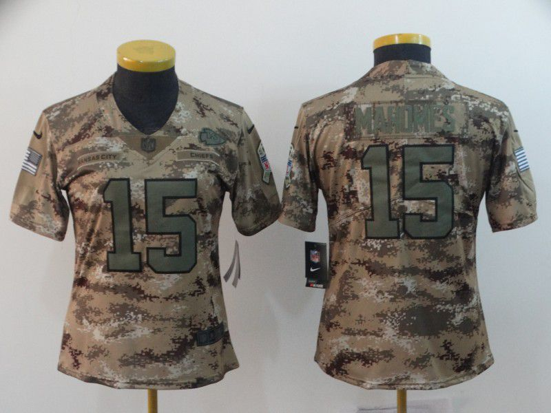Women Kansas City Chiefs 15 Mahomes Nike Camo Salute to Service Retired Player Limited NFL Jersey