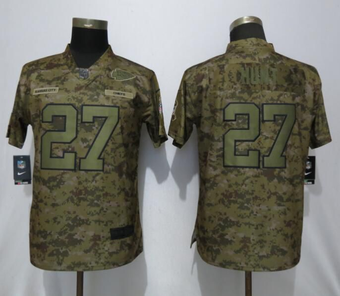 Women Kansas City Chiefs 27 Hunt Nike Camo Salute to Service Limited NFL Jerseys