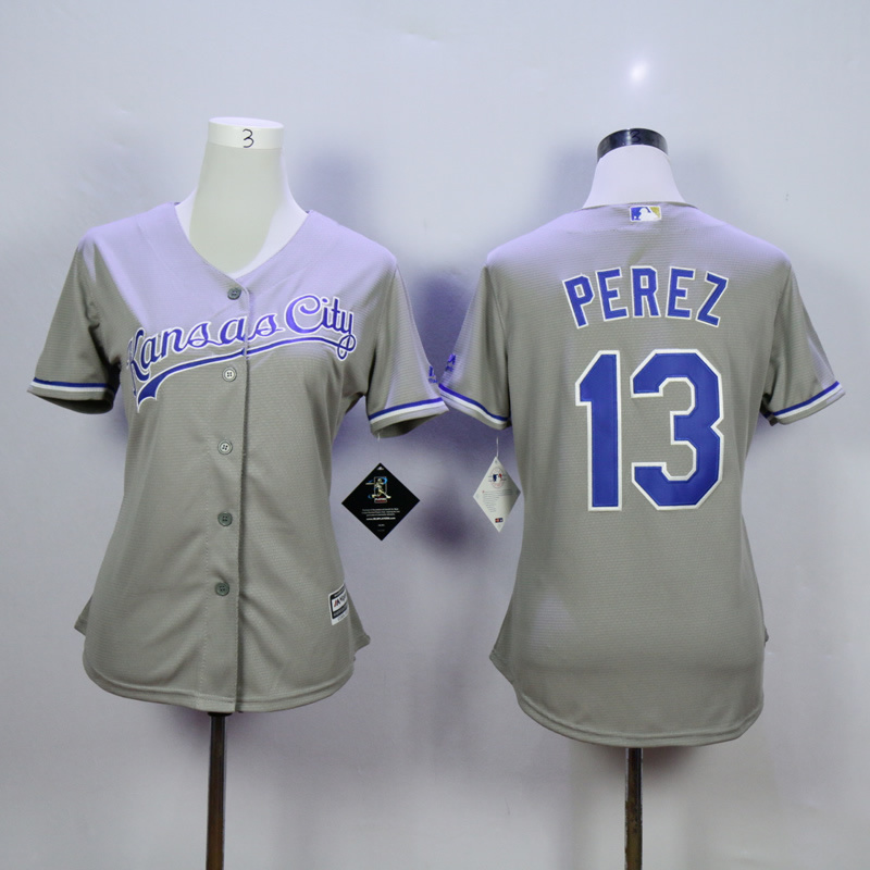 Women Kansas City Royals 13 Perez Grey MLB Jerseys