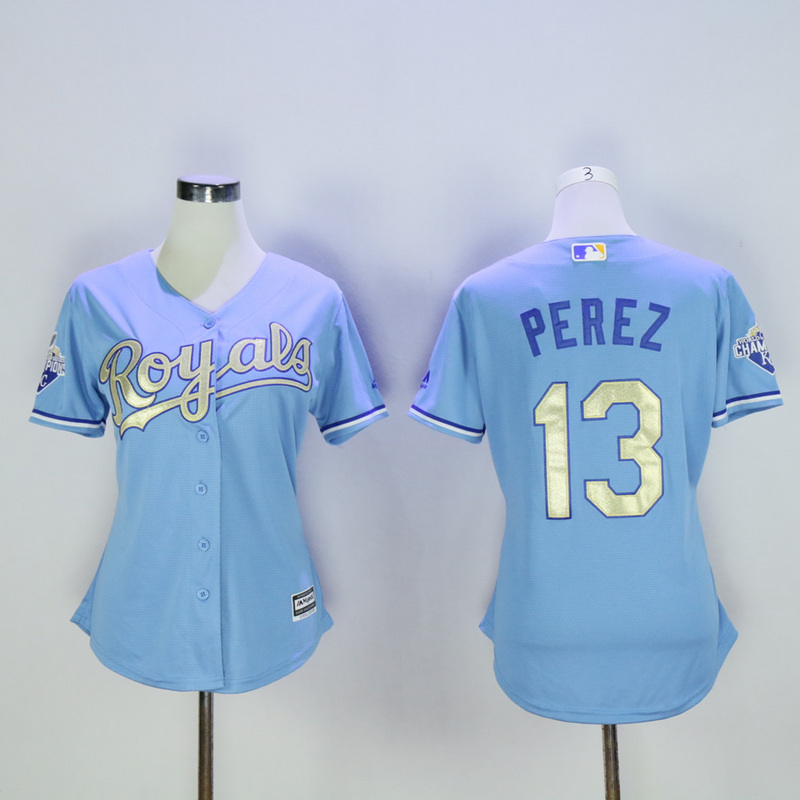 Women Kansas City Royals 13 Perez Light Blue Champion MLB Jerseys