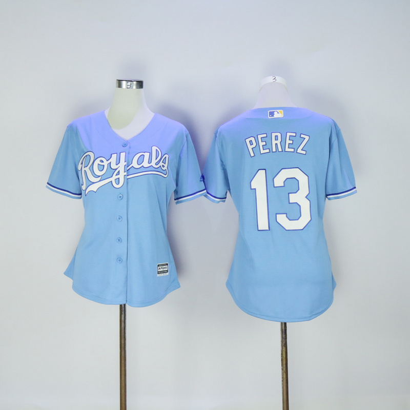 Women Kansas City Royals 13 Perez Light Blue MLB Jerseys