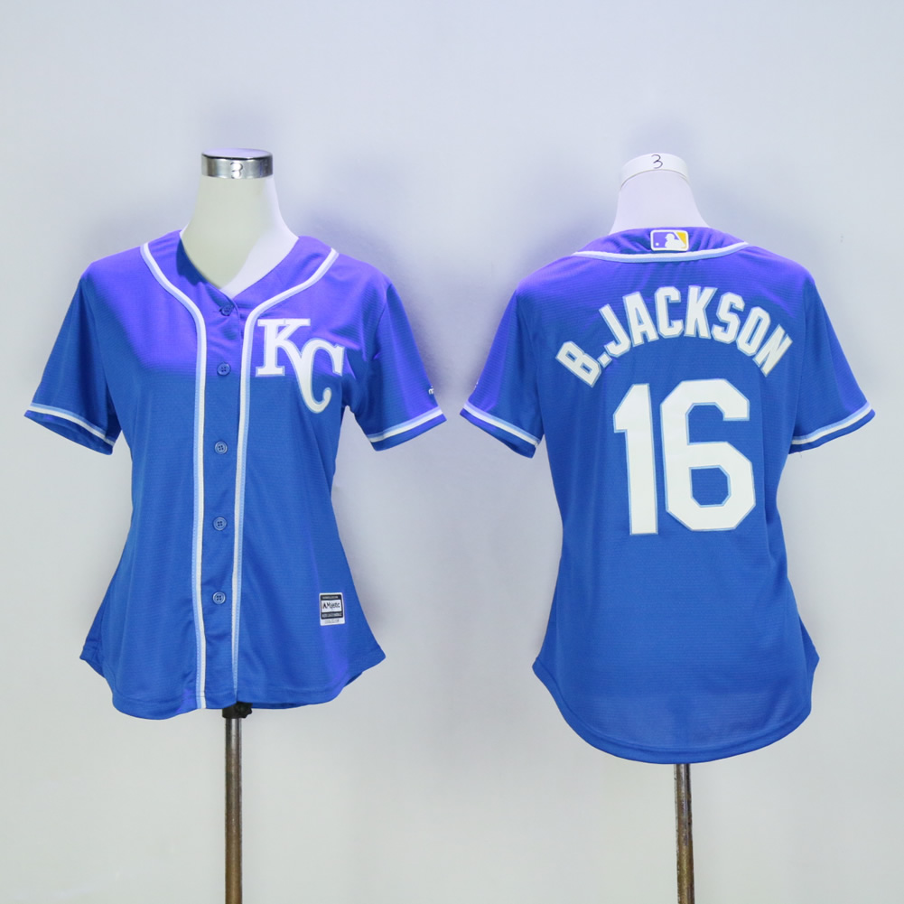 Women Kansas City Royals 16 B.Jackson Blue MLB Jerseys