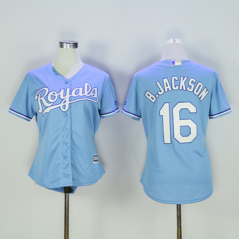 Women Kansas City Royals 16 B.Jackson Light Blue MLB Jerseys