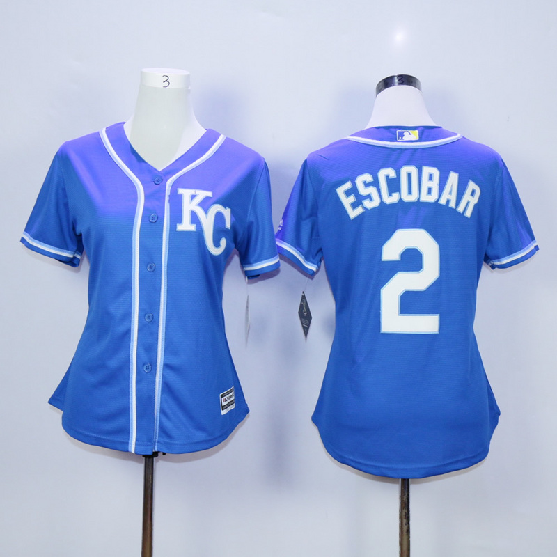Women Kansas City Royals 2 Eacobar Blue MLB Jerseys