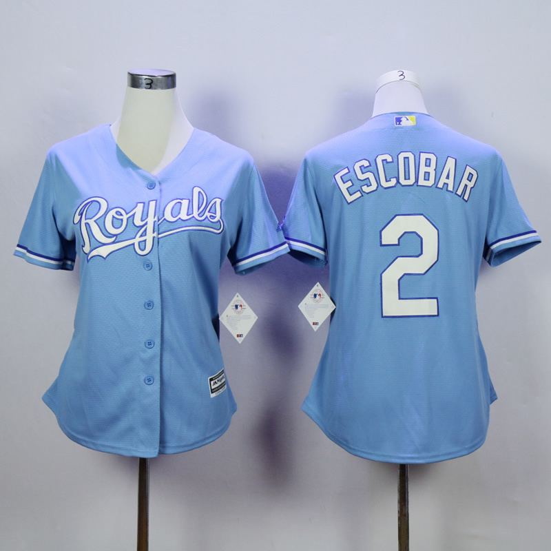 Women Kansas City Royals 2 Eacobar Light Blue MLB Jerseys