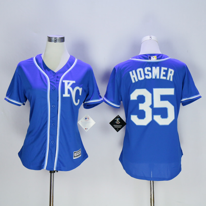 Women Kansas City Royals 35 Hosmer Blue MLB Jerseys