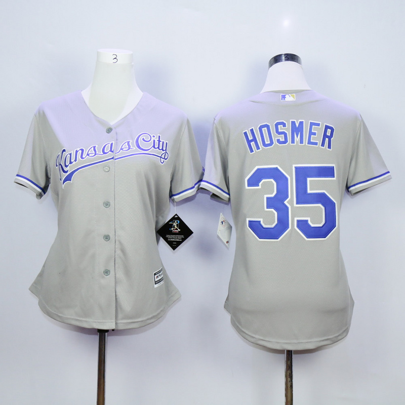Women Kansas City Royals 35 Hosmer Grey MLB Jerseys